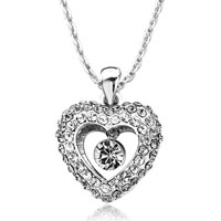 Necklace & Pendants - heart clear swarovski crystal dangle april birthstone round pendant necklace for women earrings Image.