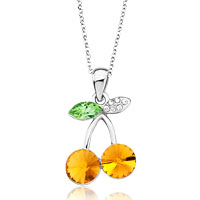 Necklace & Pendants - beautiful cherry november birthstone topaz orange swarovski crystal clear peridot leaf pendant necklace for women Image.