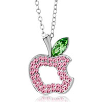 Necklace & Pendants - apple october birthstone rose pink swarovski crystal peridot leaf pendant necklace Image.
