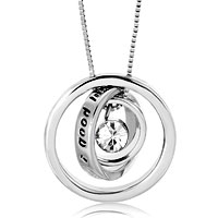 relation - trinity ring hoops necklace clear white swarovski elements crystal bithstone pendant Image.