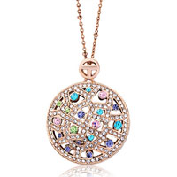 Necklace & Pendants - karma rose gold round colorful crystal cubic zirconia necklaces pendant Image.