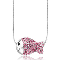 Necklace & Pendants - cute fish october birthstone rose pink swarovski crystal pendant necklace for women Image.