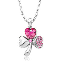 Necklace & Pendants - clover padparadscha rhinestone red swarovski crystal heart october rose pendant necklace Image.