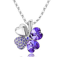 Necklace & Pendants - four leaf clover necklace 12  colors swarovski elements heart love pendant Image.
