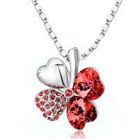 Necklace & Pendants - four leaf clover january birthstone garnet red swarovski crystal hearts pendant necklace Image.