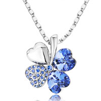 Necklace & Pendants - four leaf clover september birthstone sapphire blue swarovski crystal hearts pendant necklace Image.