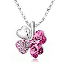 Necklace & Pendants - four leaf clover october birthstone rose pink swarovski crystal hearts pendant necklace Image.