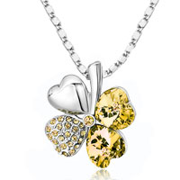 New Arrivals - four leaf clover november birthstone topaz yellow swarovski crystal hearts pendant necklace Image.