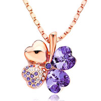 Necklace & Pendants - rose gold four leaf clover february birthstone purple swarovski crystal hearts rose bengal pendant necklace for women Image.