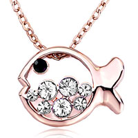Necklace & Pendants - rose gold fish april birthstone clear swarovski crystal round pendant necklace for women earrings Image.