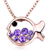 Necklace & Pendants - rose gold fish tanzanite purple swarovski crystal round pendant necklace for women earrings Image.