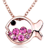 Necklace & Pendants - rose gold fish pink october birthstone swarovski crystal round pendant necklace for women earrings Image.