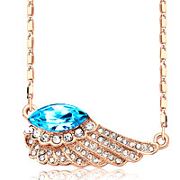 Necklace & Pendants - rose gold wing crystal march birthstone aquamarine blue necklace pendant Image.