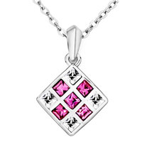 Necklace & Pendants - love magic cube october birthstone pink rose swarovski crystal square pendant necklace earrings Image.
