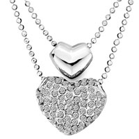 Necklace & Pendants - womens double heart april birthstone clear crystal pendant necklace earrings Image.