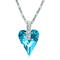 Necklace & Pendants - classic march birthstone aquamarine blue swarovski crystal wild heart pendant necklace earrings Image.