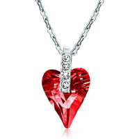 Necklace & Pendants - classic indian red swarovski crystal wild heart pendant necklace for women earrings Image.
