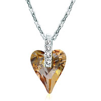 Necklace & Pendants - classic crystal golden shadow swarovski crystal wild heart pendant necklace for women earrings Image.