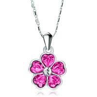 Necklace & Pendants - flower october birthstone rose swarovski crystal hearts petal pendant necklace for women Image.