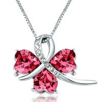 Necklace & Pendants - clover october birthstone rose swarovski crystal hearts pendant necklace for women Image.