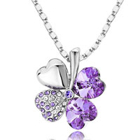 Necklace & Pendants - 18 k gold plated swarovski crystal heart shaped four leaf clover pendant necklace various colors Image.