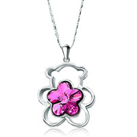 Necklace & Pendants - teddy bear heart forever love fuchsia swarovski crystal flower pendant necklace for women earrings Image.