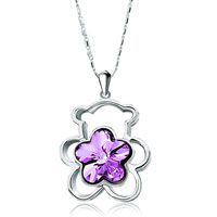 Necklace & Pendants - teddy bear heart forever love violet swarovski crystal flower pendant necklace for women earrings Image.