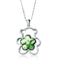 Necklace & Pendants - teddy bear heart forever love august birthstone peridot swarovski crystal flower pendant necklace for women earrings Image.