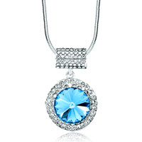 Necklace & Pendants - karma round clear crystal cz march birthstone aquamarine necklaces pendant Image.