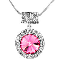Necklace & Pendants - karma round clear crystal cz october birthstone rose necklaces pendant Image.