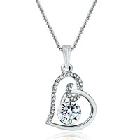 Necklace & Pendants - heart april birthstone clear crystal cz pendant necklace for women earrings Image.