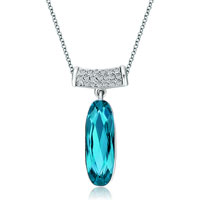 Necklace & Pendants - long round clear crystal dangle indicolite swarovski crystal oval pendant necklace for women Image.