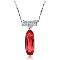 Necklace & Pendants - long round clear crystal dangle padparadscha swarovski crystal oval pendant necklace Image.