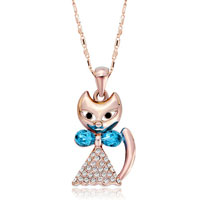Necklace & Pendants - rose gold cat clear crystal cz march aquamarine pendant necklace earrings Image.