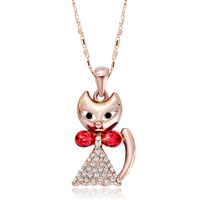 Necklace & Pendants - rose gold cat clear crystal padparadscha swarovski crystal pendant necklace for women earrings Image.