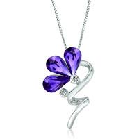 Necklace & Pendants - flower swirl stem tanzanite swarovski crystal petal pendant necklace for women earrings Image.