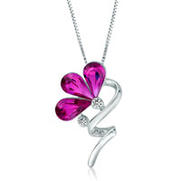 Necklace & Pendants - flower swirl stem fuchsia swarovski crystal petal pendant necklace for women earrings Image.