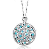 Necklace & Pendants - karma necklaces round pattern march birthstone aquamarine pendant Image.