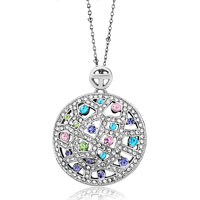 Necklace & Pendants - karma necklaces round pattern colorful crystal pendant necklace earrings Image.