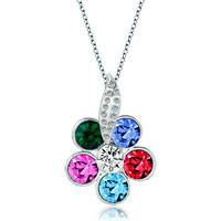 Necklace & Pendants - flower colorful swarovski crystal round leaf clear pendant necklace for women earrings Image.
