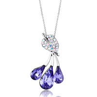 Necklace & Pendants - leaf crystal aurore boreale dangle tanzanite swarovski crystal drop pendant necklace earrings Image.