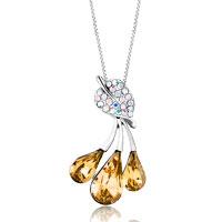 Necklace & Pendants - leaf crystal dangle golden shadow swarovski crystal drop pendant necklace for women Image.