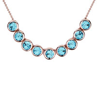 Necklace & Pendants - rose gold rounds march birthstone aquamarine swarovski crystal pendant necklace for women Image.