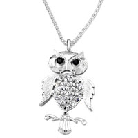 Necklace & Pendants - mothers day gifts lovely owl on branch april birthstone clear crystal black eyes pendant Image.
