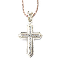 Necklace & Pendants - cross necklaces champagne cross april birthstone clear crystal pendant Image.