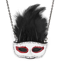 Necklace & Pendants - vintage gold mask white red drip gum clear rhinestone crystal& black feather pendant Image.
