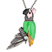 Necklace & Pendants - lovely vintage gold parrot on branch pink green drip gum clear crystal pendant Image.