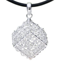Sterling Silver - 925  sterling silver bamboo braided box pendant necklace sterling silver pendant Image.