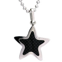 Necklace & Pendants - men' s stainless steel black star necklaces pendant great gifts Image.