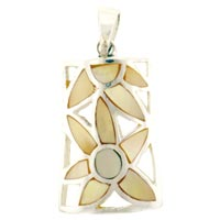 Mother Of Pearl Jewelry - sterling silver mother of pearl pendant necklace earrings Image.